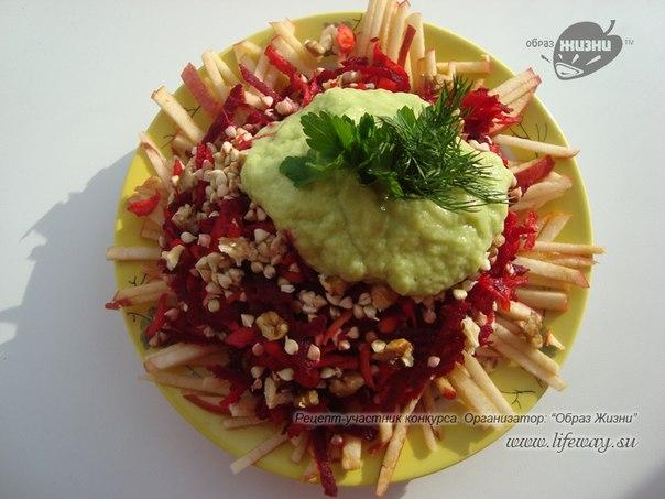 Сыроедческая гречка под авокадовым соусом